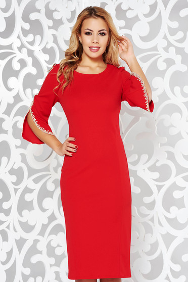 Red dress elegant pencil from elastic fabric with embroidery details with 3/4 sleeves