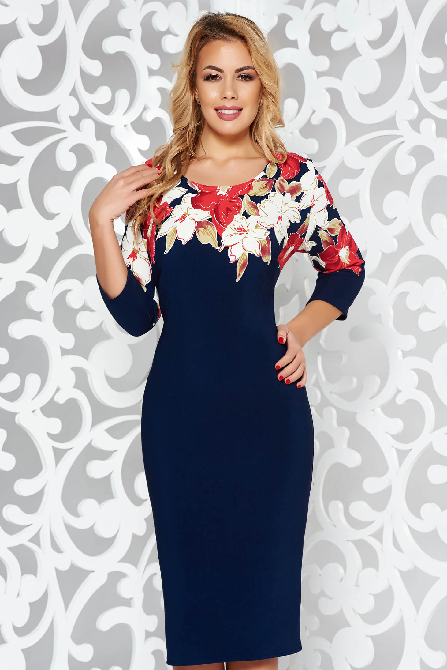 Darkblue daily pencil dress slightly elastic fabric with floral prints