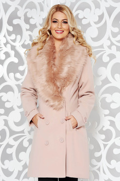 Rosa coat elegant cloth with inside lining with pockets fur collar