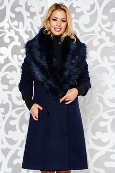 Darkblue coat elegant straight cloth with inside lining fur collar with pockets