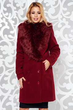 Burgundy coat elegant straight cloth with inside lining fur collar with pockets