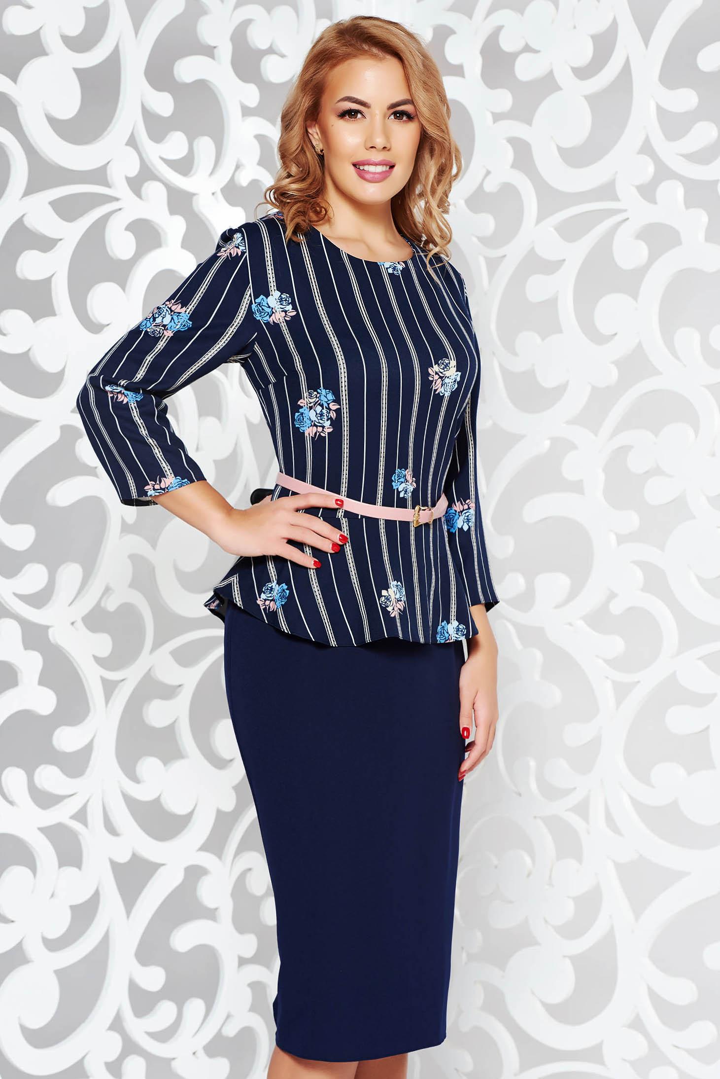 Rochie albastra-inchis office tip creion din stofa usor elastica cu peplum cu accesoriu tip curea