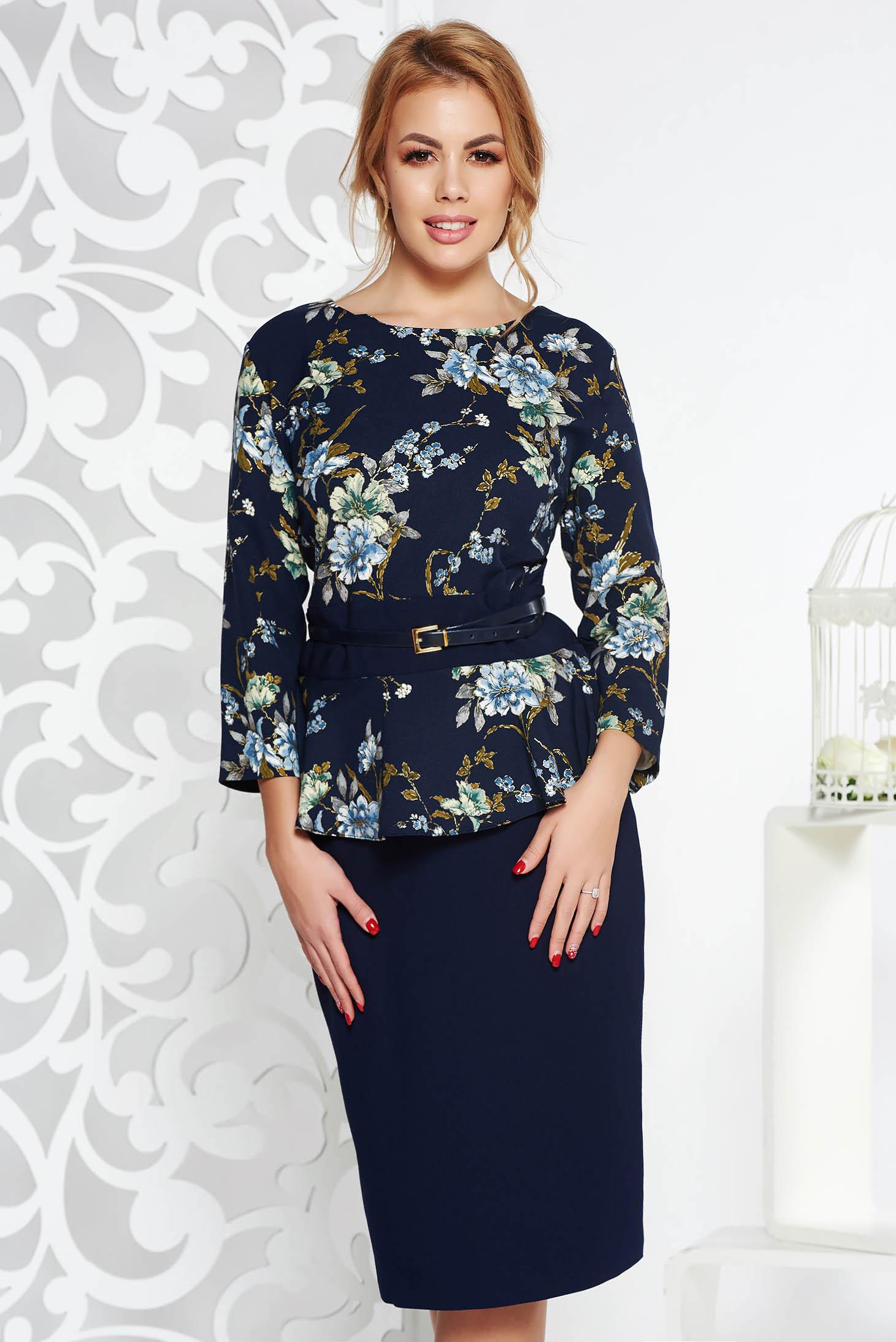 Rochie albastru-inchis eleganta midi din stofa usor elastica cu peplum cu accesoriu tip curea