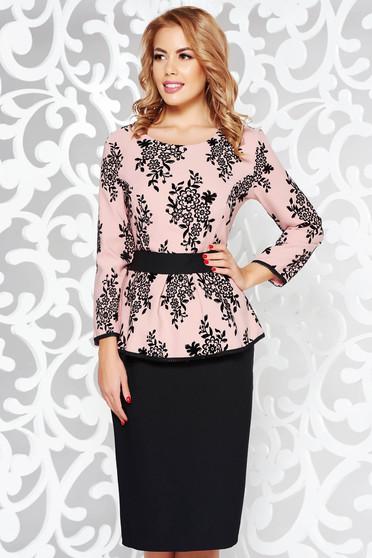 Rosa dress elegant pencil slightly elastic fabric with frilled waist
