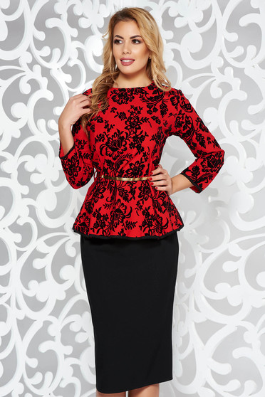 Red occasional from 2 pieces set slightly elastic cotton with frilled waist accessorized with belt
