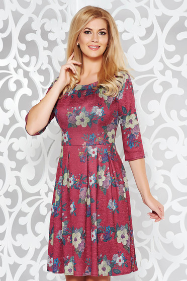 Burgundy daily cloche dress knitted fabric with floral prints