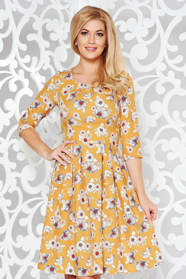 Mustard elegant cloche dress slightly elastic fabric with floral print