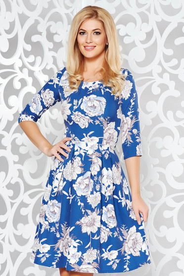 Blue elegant cloche dress slightly elastic fabric with floral print