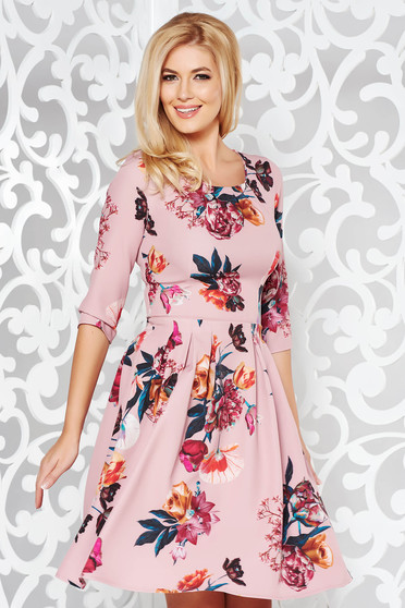 Pink elegant cloche 3/4 sleeve dress slightly elastic fabric with floral print
