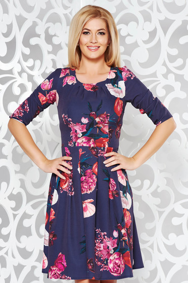 Black elegant cloche 3/4 sleeve dress slightly elastic fabric with floral print