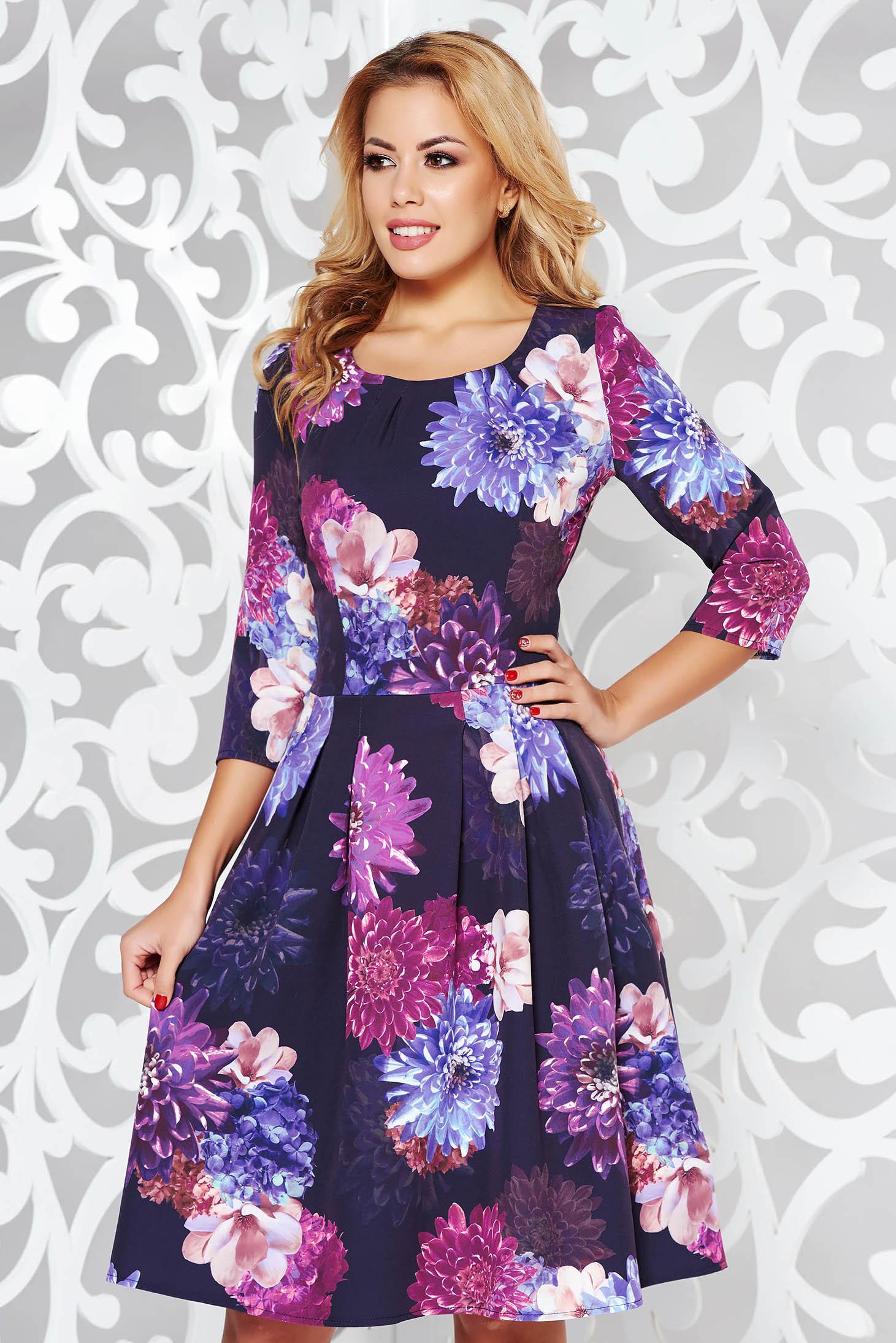 Rochie neagra eleganta in clos din stofa usor elastica cu imprimeu floral