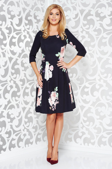 Black elegant cloche dress with 3/4 sleeves slightly elastic fabric with floral print
