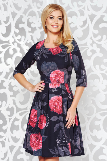 Black elegant cloche dress slightly elastic fabric with floral print