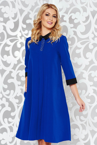 Blue dress elegant flared slightly elastic fabric with bright details with pockets