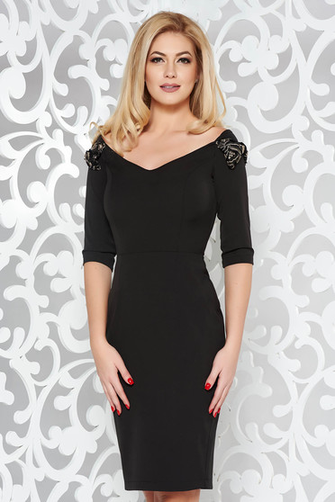 StarShinerS black elegant pencil dress off shoulder slightly elastic fabric with bow accessories