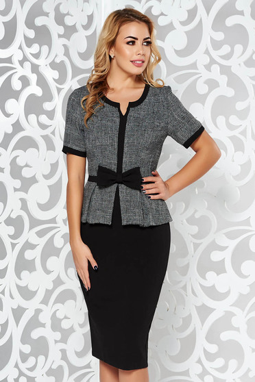 StarShinerS black office midi pencil dress from non elastic fabric with frilled waist