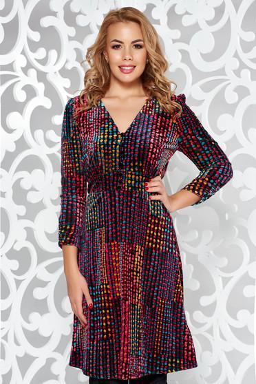 Red daily a-line velvet dress with v-neckline