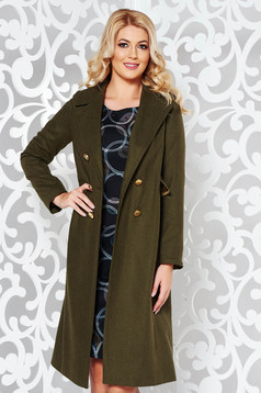Casual darkgreen coat cloth with inside lining with straight cut