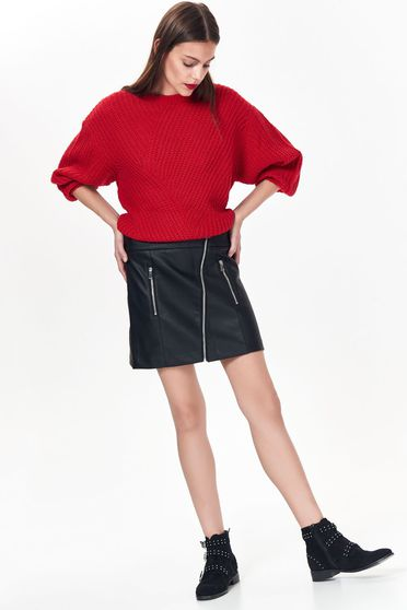 Top Secret black casual with medium waist skirt flaring cut from ecological leather