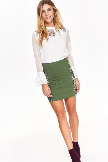 Top Secret green casual with medium waist cotton skirt with embroidery details with tented cut