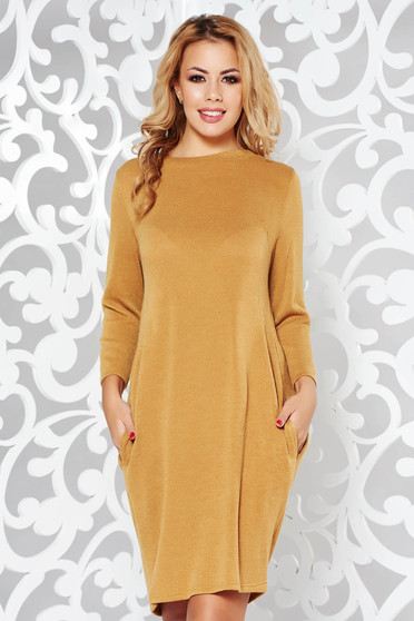 Mustard dress casual flared knitted fabric from soft fabric with pockets