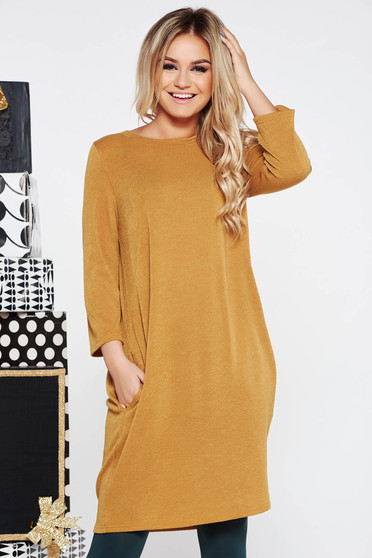 Mustard casual flared dress knitted fabric from soft fabric with pockets