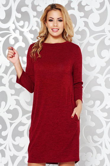 Burgundy casual flared dress knitted fabric from soft fabric with pockets