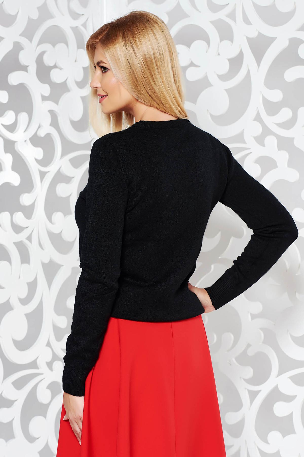 Pulover StarShinerS negru din bumbac usor elastic din material tricotat cu aplicatii cu pietre strass