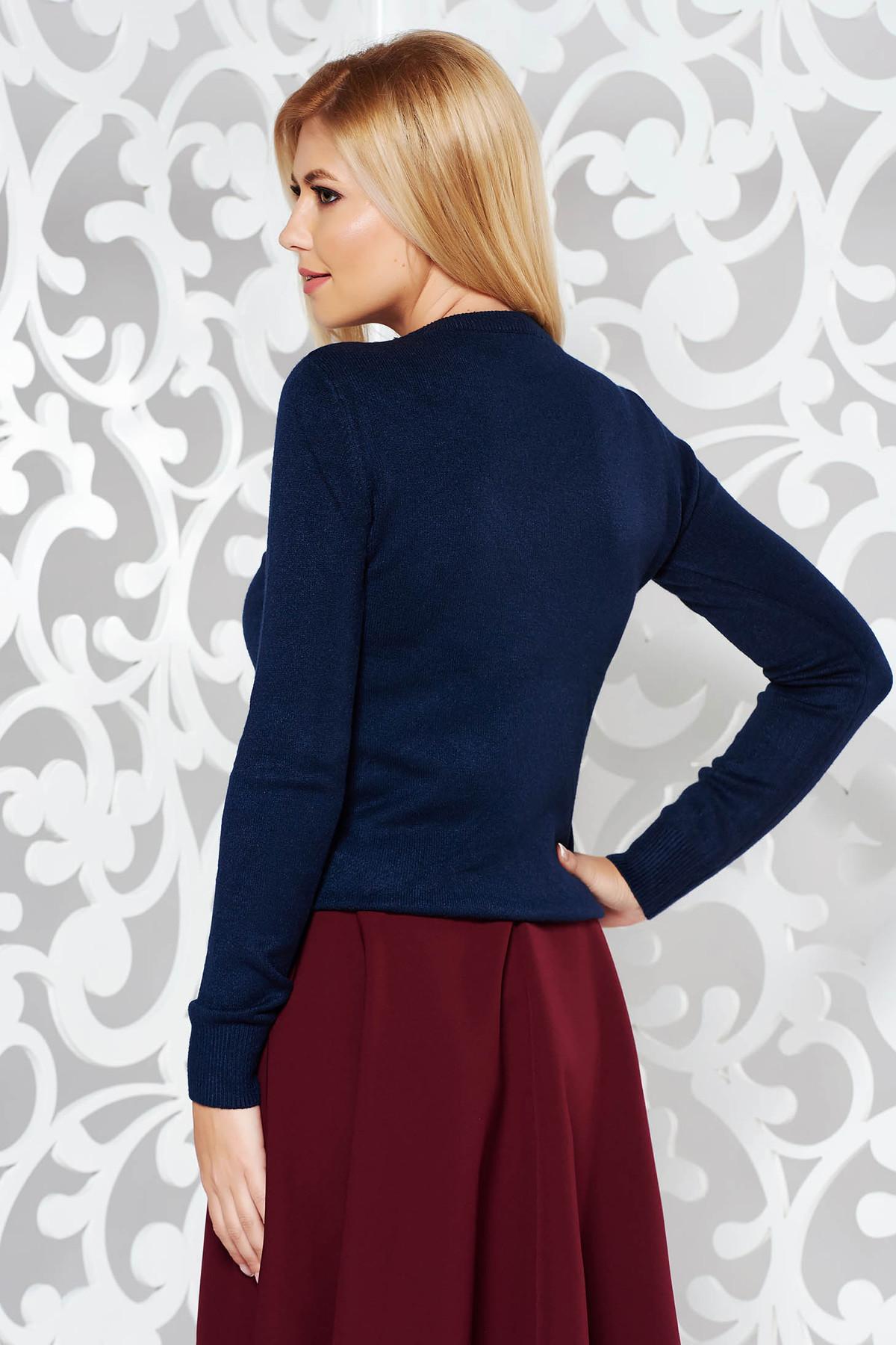 Pulover StarShinerS albastru-inchis din bumbac usor elastic din material tricotat cu aplicatii cu pietre strass
