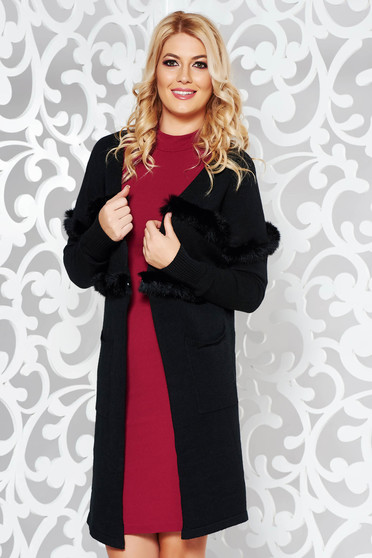 StarShinerS black elegant knitted cardigan slightly elastic cotton with faux fur details