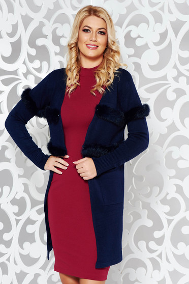 StarShinerS darkblue elegant knitted cardigan slightly elastic cotton with faux fur details