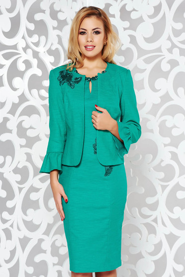 Green elegant set nonelastic cotton with inside lining from 2 pieces