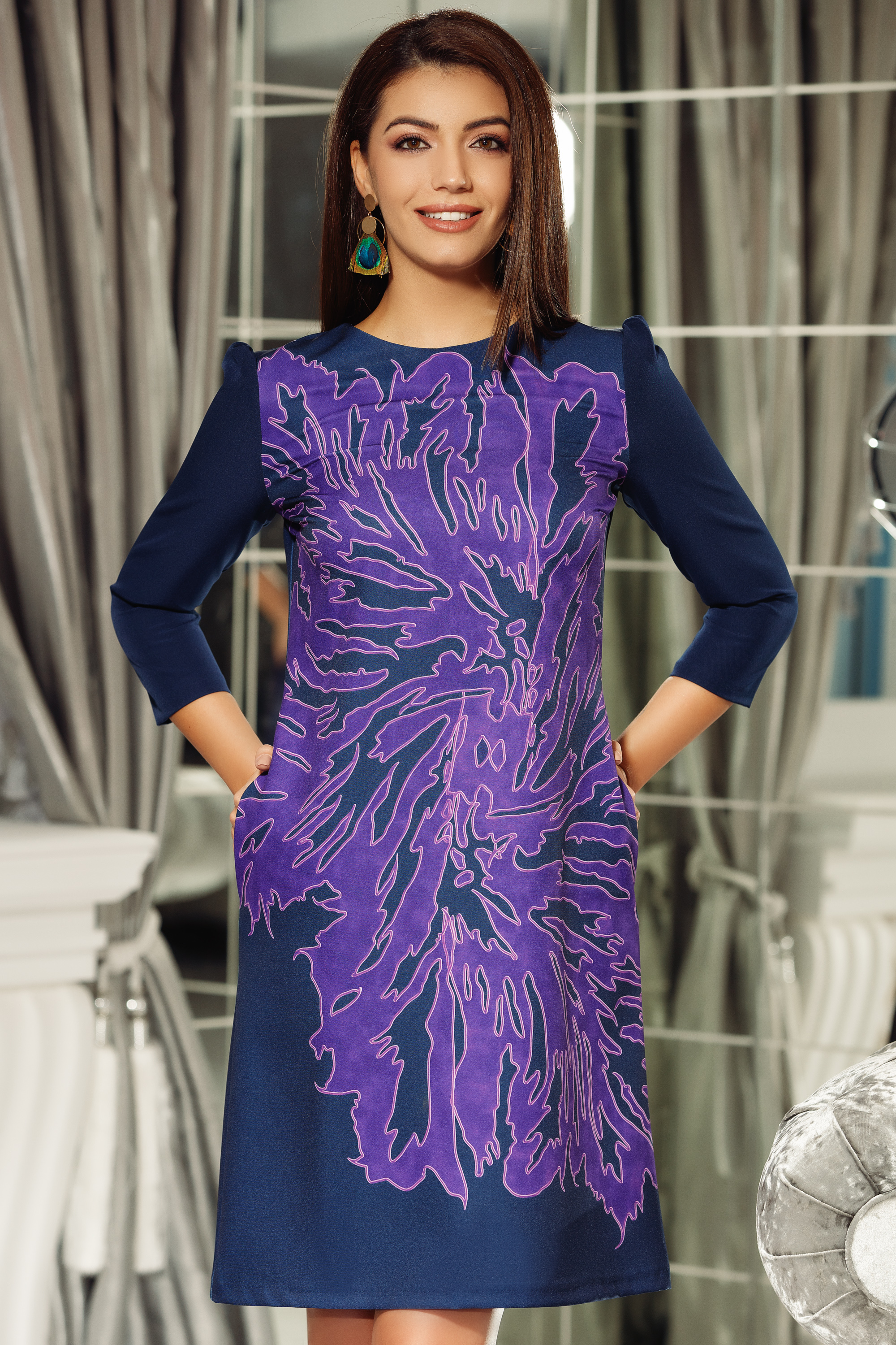Fofy purple office a-line dress slightly elastic fabric with 3/4 sleeves