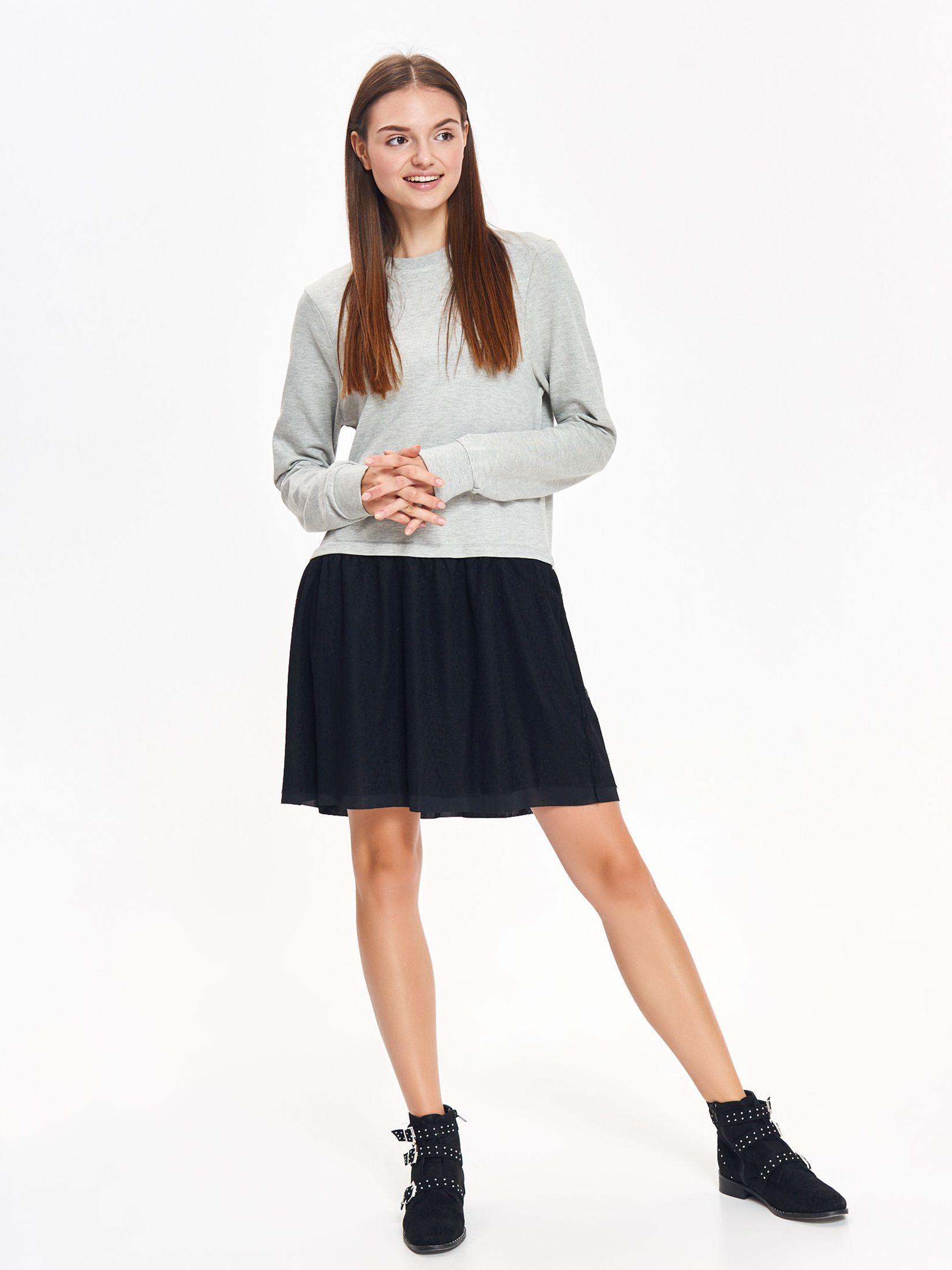 Rochie Top Secret gri casual cu croi larg din material tricotat cu tul