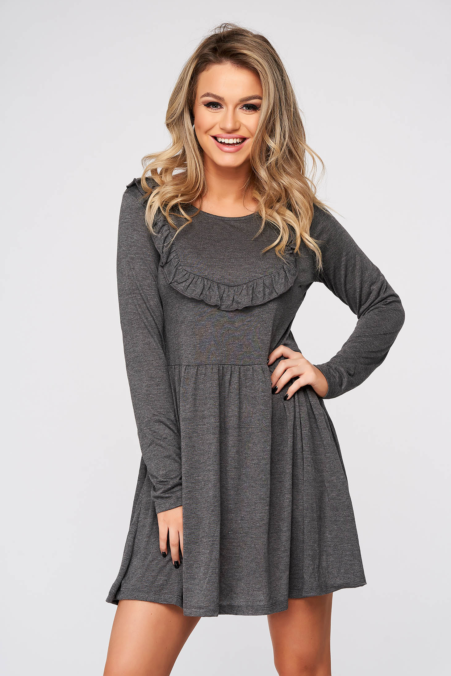 Grey dress short cut cloche casual long sleeved with ruffle details