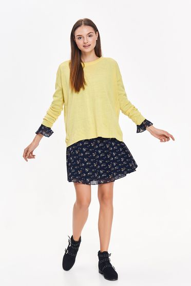 Top Secret yellow casual flared sweater knitted fabric long sleeved