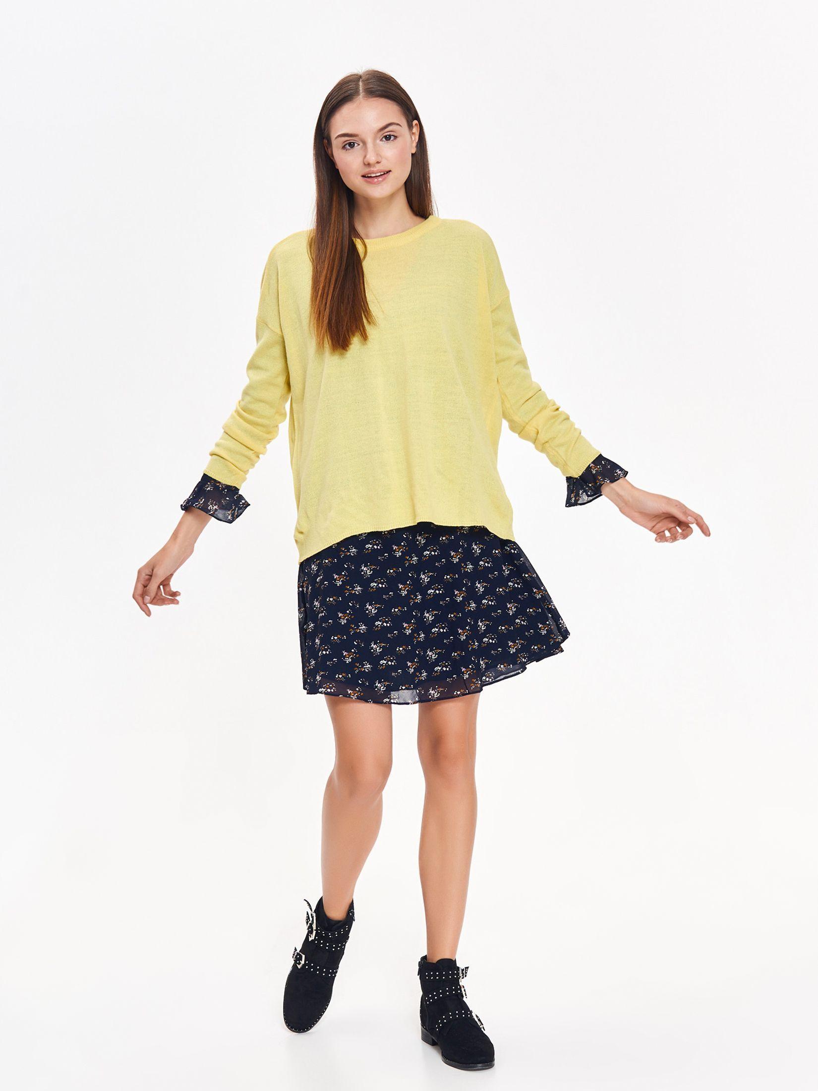 Pulover Top Secret galben casual cu croi larg din material tricotat cu maneci lungi
