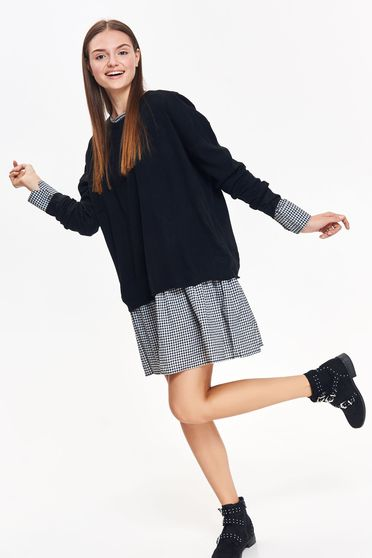Top Secret black casual flared sweater knitted fabric long sleeved