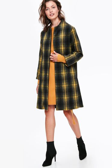 Top Secret black casual straight coat cloth plaid fabric