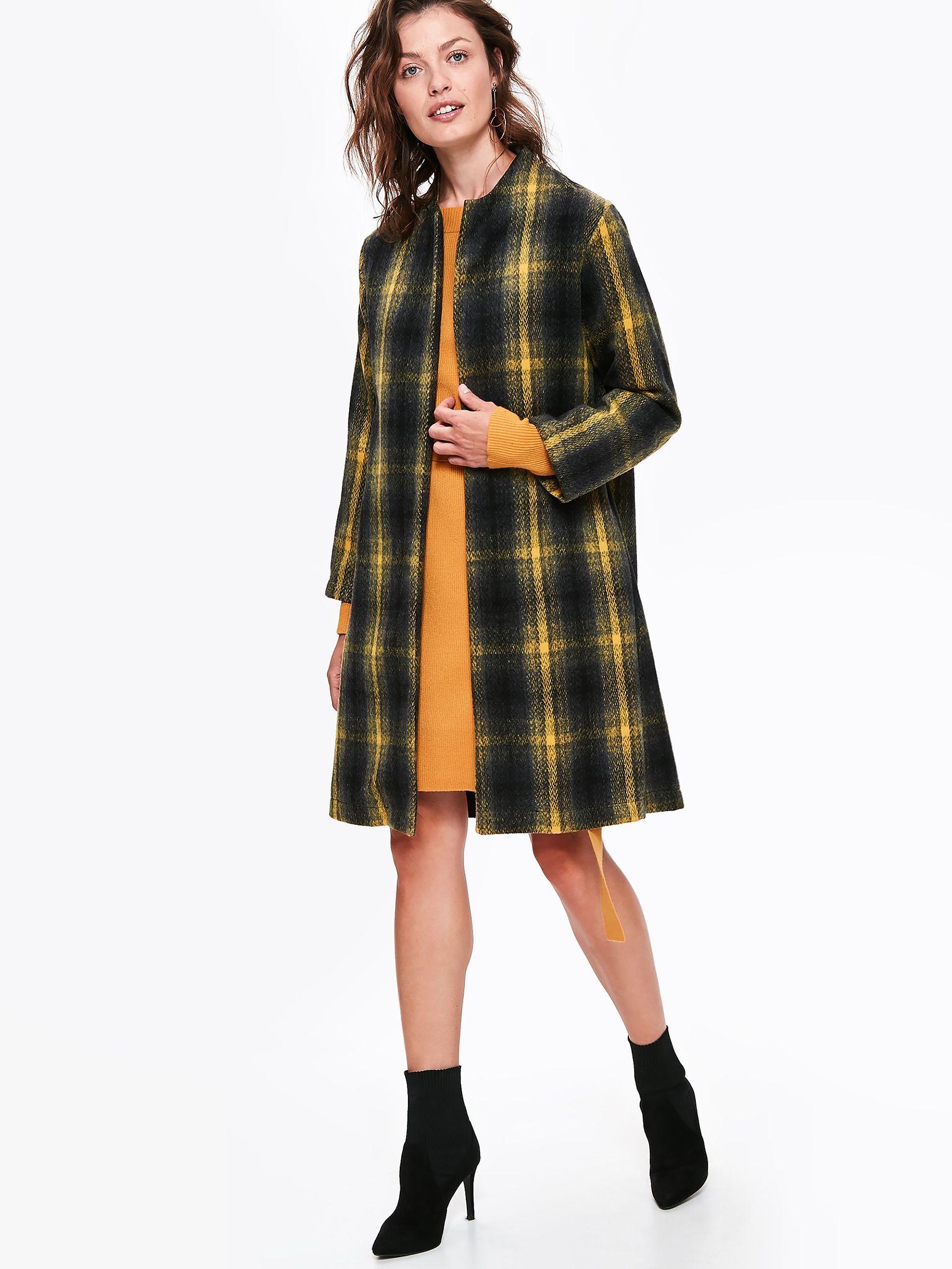 Palton Top Secret negru casual drept din stofa in carouri