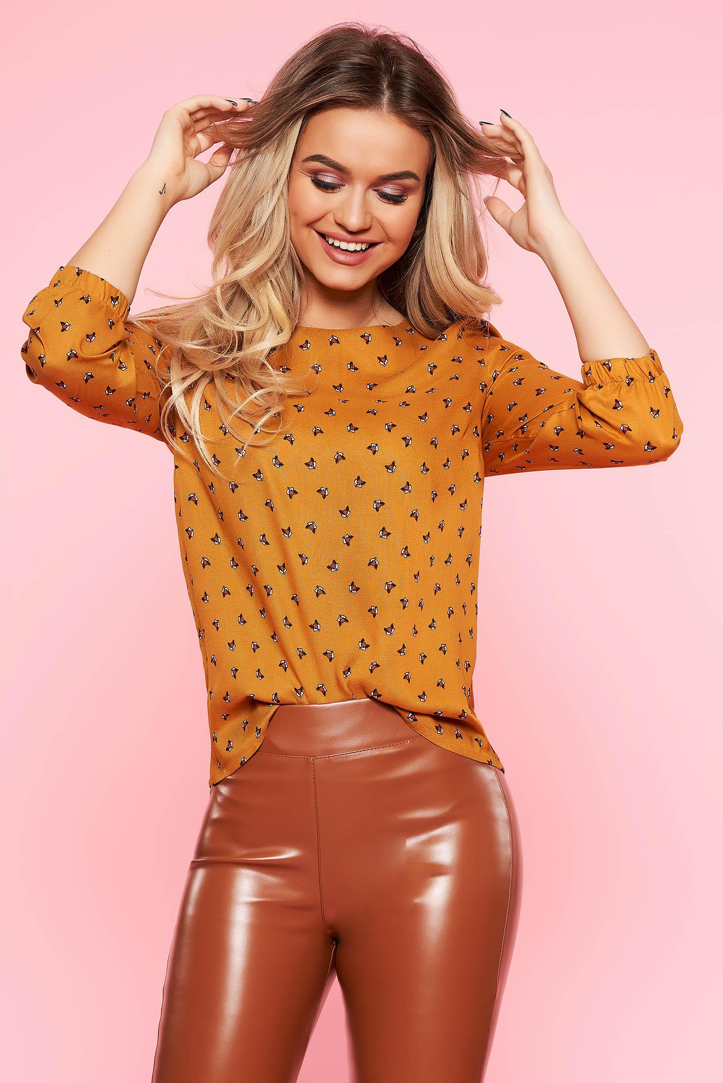 Bluza dama Top Secret portocalie casual cu croi larg din material vaporos cu maneca 3/4
