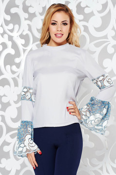 StarShinerS grey elegant flared women`s blouse nonelastic fabric with lace details