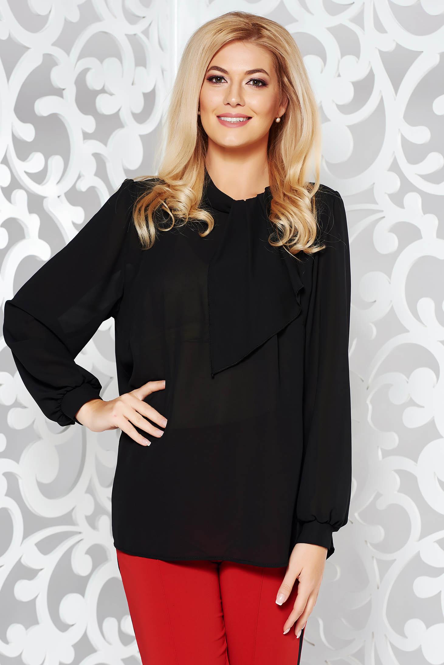 Bluza dama neagra eleganta cu croi larg din voal cu maneci lungi
