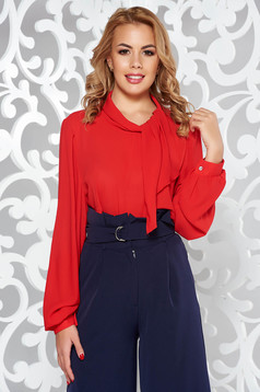 Red elegant from veil fabric flared women`s blouse long sleeved
