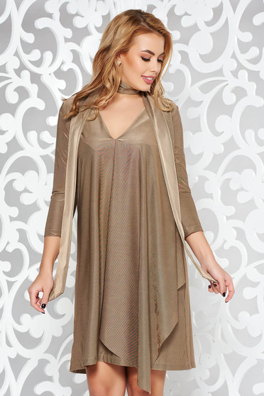 StarShinerS gold dress occasional asymmetrical from satin fabric texture with v-neckline