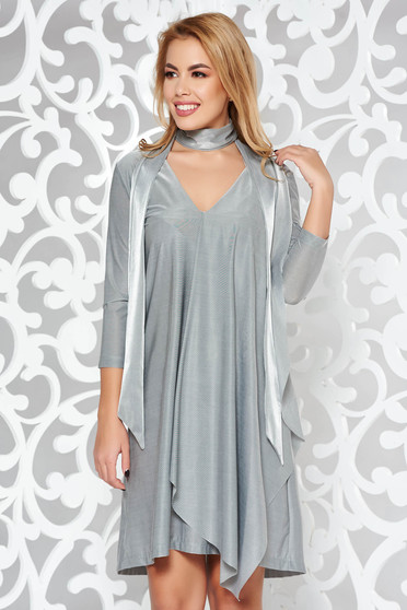 StarShinerS grey dress occasional asymmetrical from satin fabric texture with v-neckline