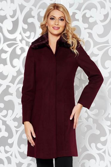 Burgundy elegant cloth coat arched cut fur collar