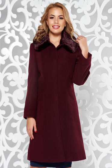 Burgundy elegant cloth coat arched cut fur collar