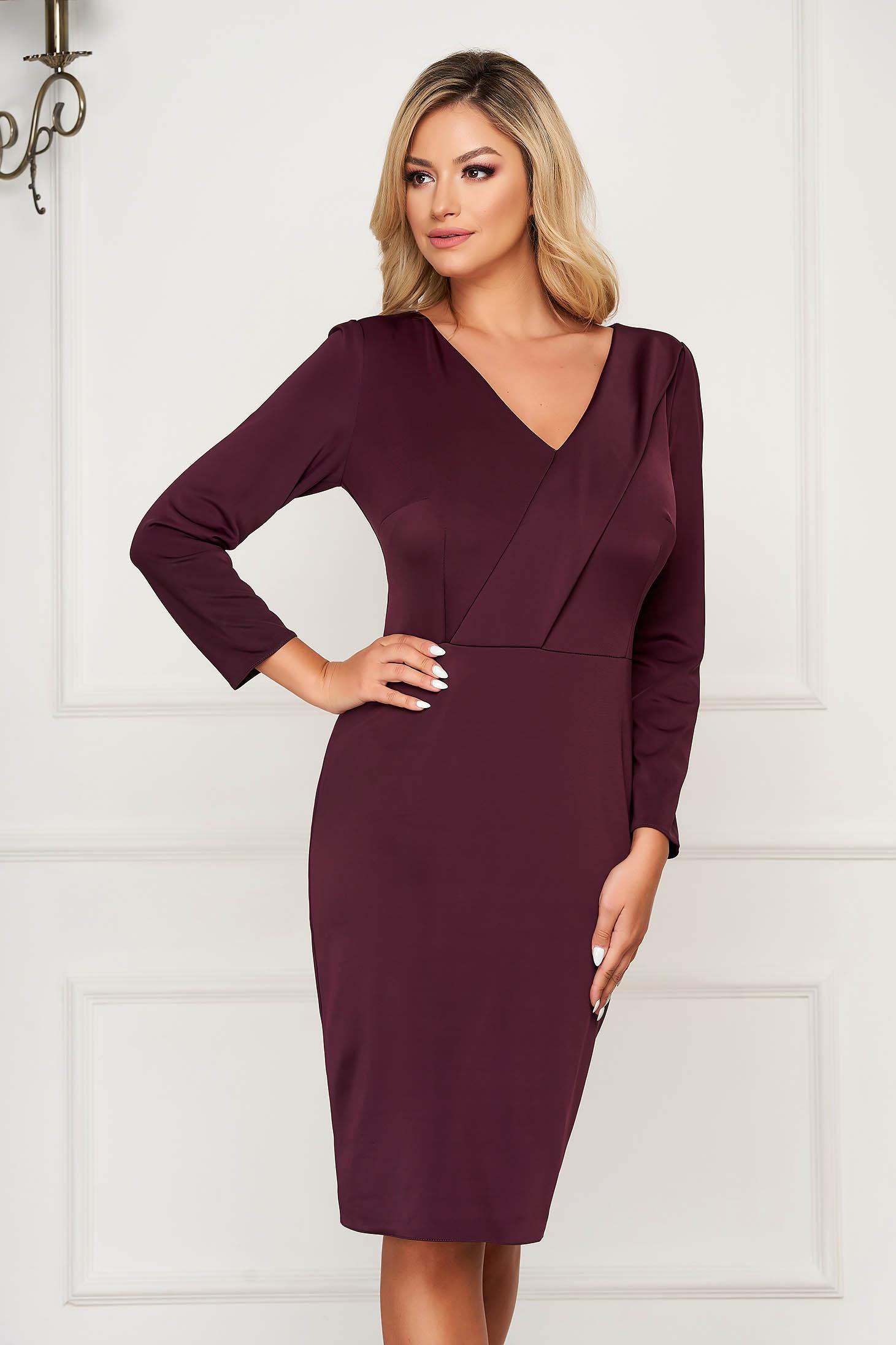Burgundy elegant pencil dress slightly elastic fabric with inside lining with v-neckline