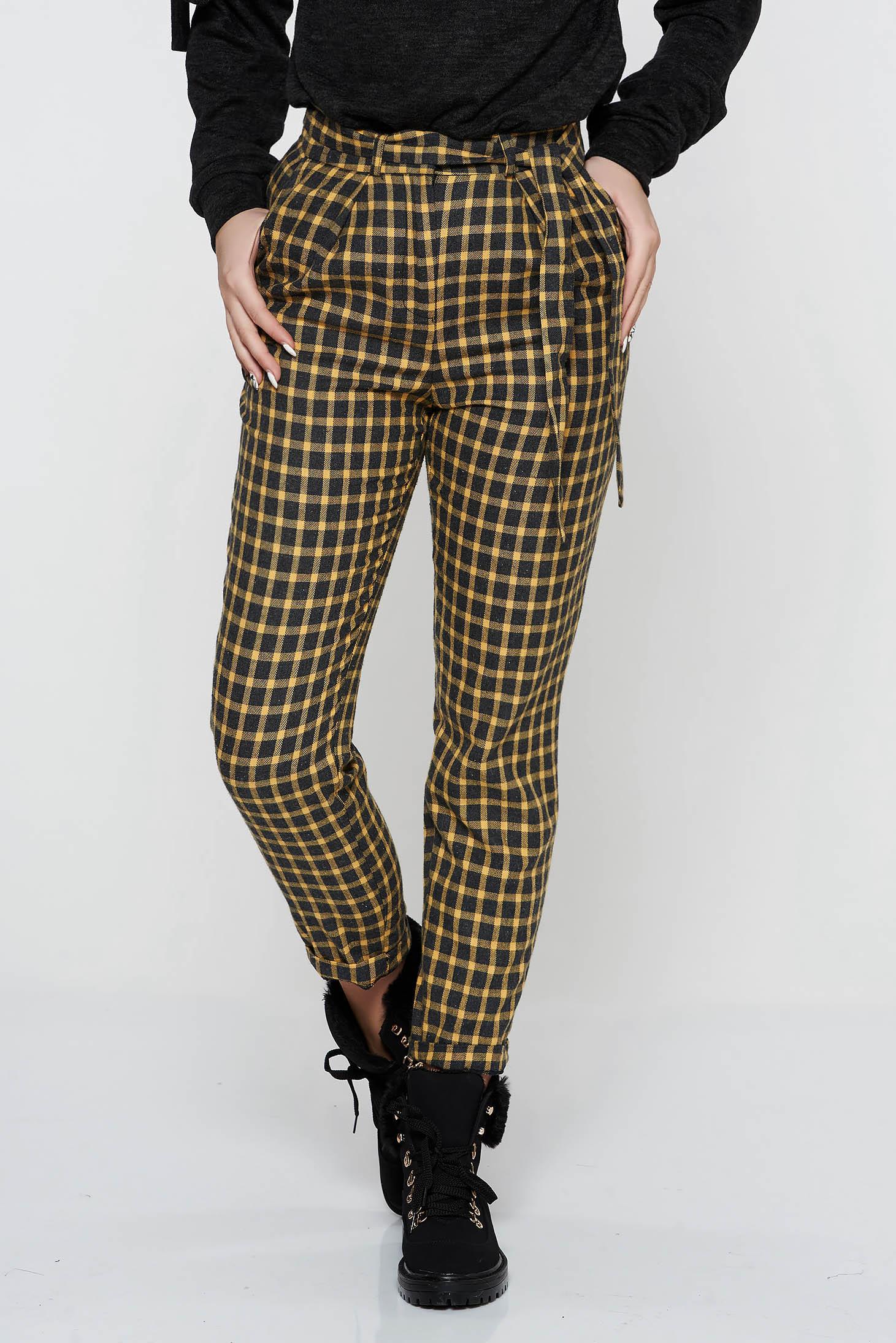 Pantaloni StarShinerS mustarii casual conici cu talie inalta din stofa neelastica cu buzunare accesorizati cu cordon